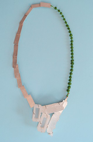 necklace, charcoal, silver, polyurethane
