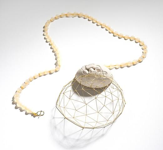 necklace gold porcelain, egg, amulet