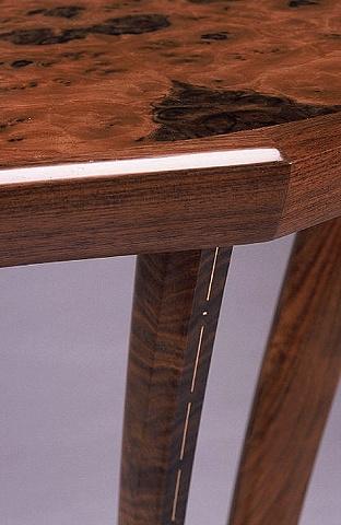 demilune pier table - walnut, elm burl, holly