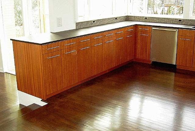 kitchen - ribbon mahogany, aluminum