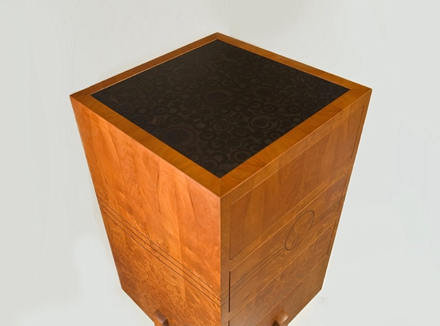 chest on stand - madrone burl, mahogany, ebony, grenadillo