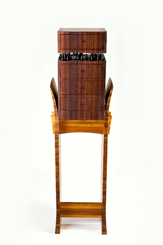 chest on stand - East Indian rosewood, mahogany, ebonized walnut, ebony