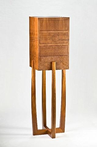 chest on stand - madrone burl, mahogany, ebony, grenadillo