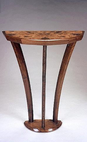 demilune pier table- walnut, elm burl, holly