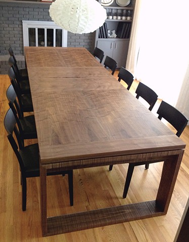 dining table w/ leaf - quilted walnut veneer, walnut, stainless steel,  inlay