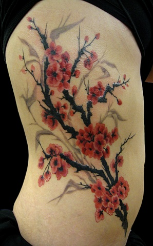 red cherry blossom tree