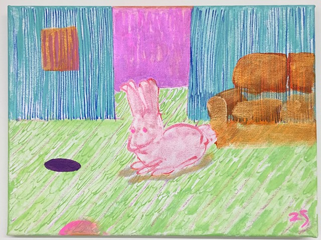 Bunny, couch, living room