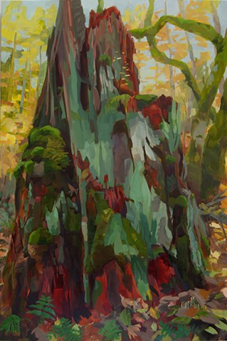 forest floor lichen contemporary painting north cascades