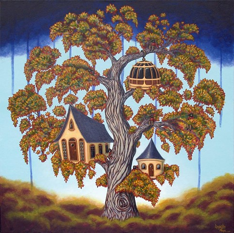 Tree House, Fantasy, Art, Painting, Alexe Lapointe