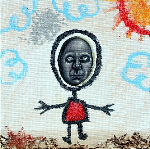 Art, Painting, Kid Drawing, Hello, Portrait, Acrylic, Oil Sticks, Pascal Leo Cormier, Payazo, Montreal