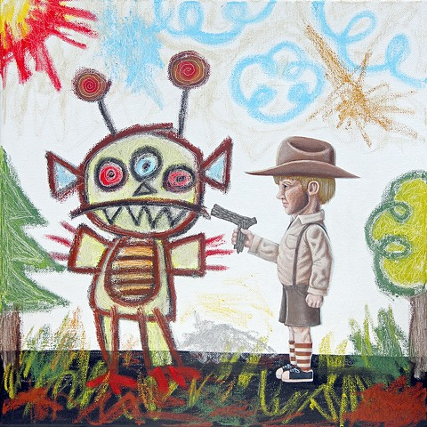 Art, Painting, Monsters, Kid Art, Imagination, Pascal Leo Cormier, Payazo, Alien, UFO, Cowboy, Alien