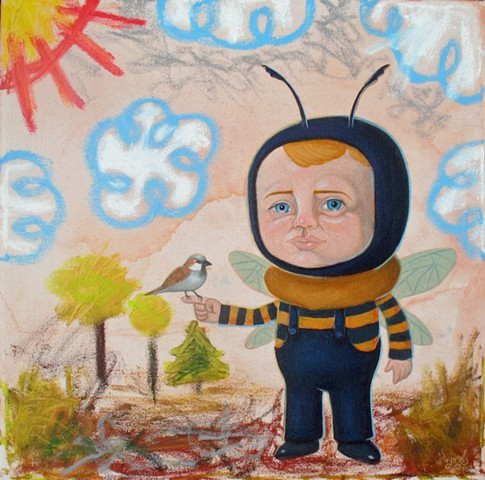 Pascal Leo Cormier, Payazo, Art, Oil, Oil Sticks, Bumble Bee, Bird, Kid Art