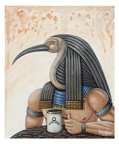 Artist, Art, Self-Portrait, Oil Painting, Pascal Leo Cormier, Montreal, Portrait, Contemporary Art, Pagan, Babylon, Egypt, Toth, Thoth, Coffee, Mythology