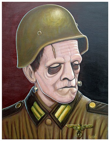 Art, Painting, Monsters Are Real, Frankenstein, Soldier, Military, War, NWO, Super Soldier, MK Ultra, PascalLeoCormier, Payazo
