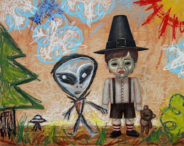 Art, Painting, Kid Drawing, Alien, Black Eyed Kids, Acrylic, Oil Sticks, Pascal Leo Cormier, Payazo, Montreal, Galerie Abyss, UFO