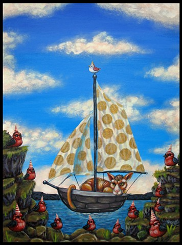 Cat, Chat, Boat, Sailing, Birds, Scarlet Tanager, Pussy