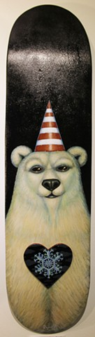 Skateboards, Art, Painting, Bumble Bees, Polar Bear, Bird, Kick Flip, Montreal, 2014