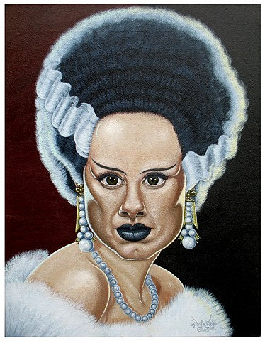 Art, Painting, Monsters Are Real, The Bride of Frankenstein, Marilyn Monroe, Hollywood, Glamour, NWO, Monarch Project, MK Ultra, Pascal Leo Cormier, Payazo