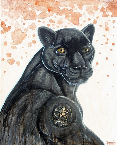 Art, Painting, Tattoo, Panther, Mullet, Acrylic, Oil Sticks, Pascal Leo Cormier, Payazo, Montreal, Egypt, Coffee