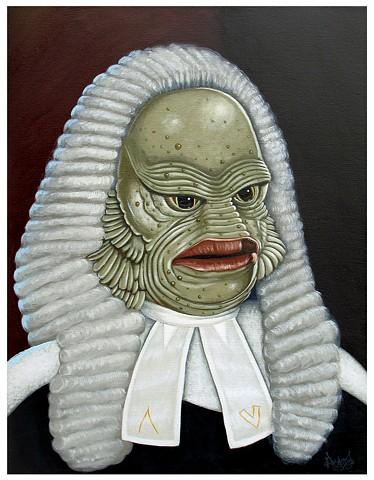 Art, Painting, Monsters Are Real, Creature of the Black Lagoon, Justice, Law, Maritime Law, NWO, Judge, MK Ultra, Justice System, PascalLeoCormier, Payazo
