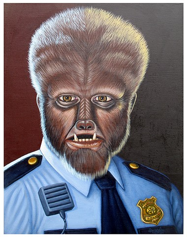 Art, Painting, Monsters Are Real, Wolfman, Justice, Law, Maritime Law, NWO, Werewolf, Police, Police Brutality, Corruption, MK Ultra, Justice System, Pascal Leo Cormier, Payazo