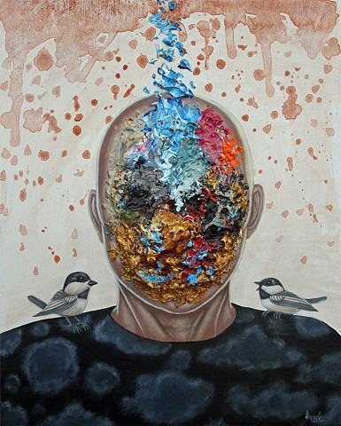 Art, Painting, Portrait, Acrylic, Oil Sticks, Pascal Leo Cormier, Payazo, Montreal, Emotional, Confliting, Reasoning, Birds