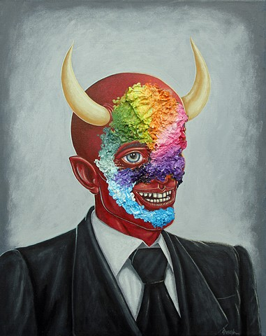 Art, Painting, Portrait, Acrylic, Oil Sticks, Deceit, Devil, Demon, Satan, Pascal Leo Cormier, Payazo, Montreal