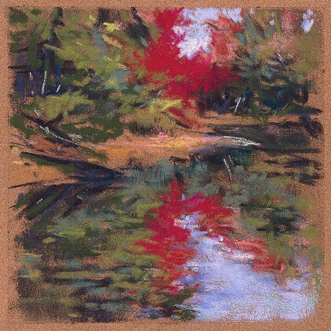 River, fall, landscape, pastel