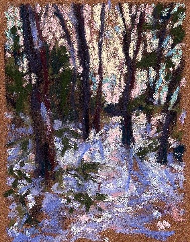 Pastel landscape drawing winter