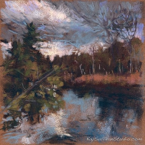 River storm clouds pastel drawing