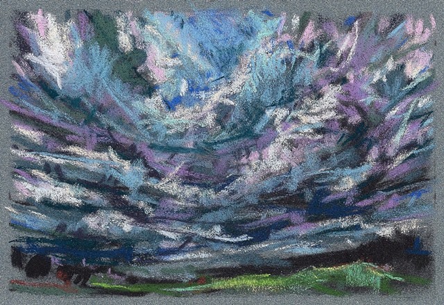 Pastel landscape drawing skyscape