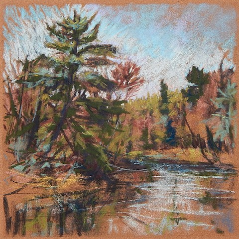plein air pastel river drawing