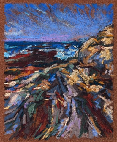 Pastel drawing landscape Maine Coast Rocks