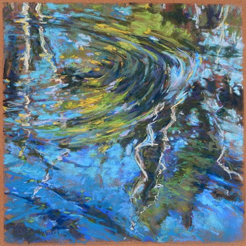 Ripple pastel drawing, river reflection