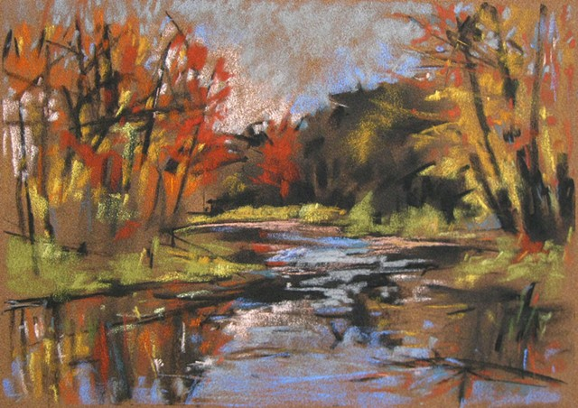 Autumn river drawing pastel and charcoal