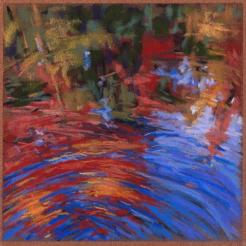 River reflection in fall, pastel drawing