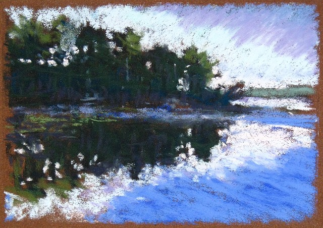 Pastel drawing Maine morning fog over the lake