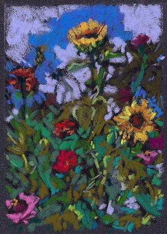 Sunflowers & Zinnias (on Grey) 5 x 3.5""