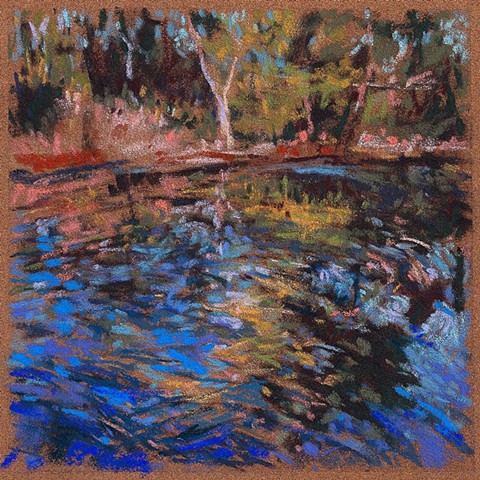 Pastel drawing river in spring, reflections