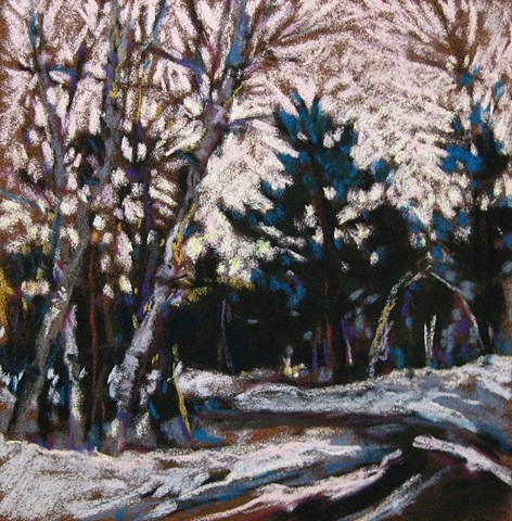 Pastel landscape winter evening