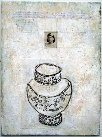 Ornate Vase and Female with Flower