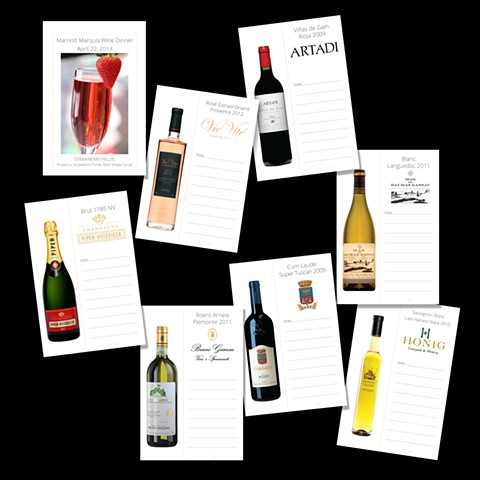 Marriott Marquis Wine Dinner Cards