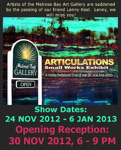 "Annual Holiday Invitational ""ARTICULATIONS:  Small Works Exhibit"""