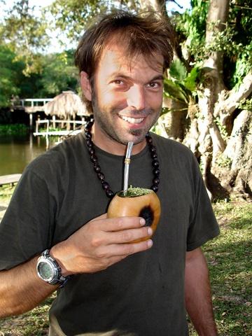 Videographer Maurice pauses for a caipirinha in Brazil's Pantanal