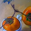 Persimmons and cup