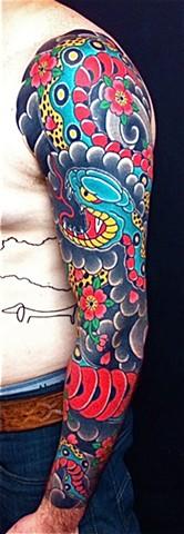 Snake & Cherry blossom full sleeve