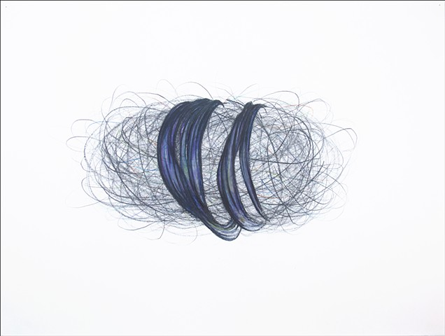 graphite loose lines rope volume shape drawing space