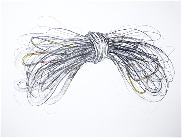 graphite loose lines rope volume shape drawing