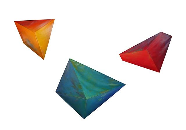 illusion painting color geometric sculptural