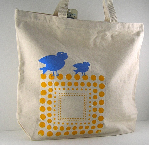 Blue Bird Tote Market Bag